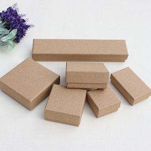 fHOoV ambalaj Kraft kağıt yazdırılabilir Kraft mücevher kutusu Sarma kağıdı karton karton bilezik kolye yüzük hediye kutusu