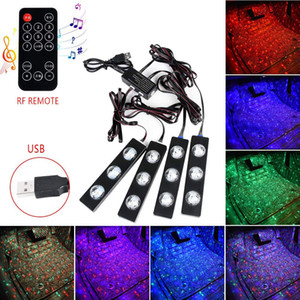 Car LED Interior Strip Lights 4 Pack 12 LEDs RGB Music Sound Sync USB Ground Accessories Kits Under Dash Lighting RF Remote Control
