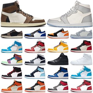 Nike air jordan Retro 1s scarpe da basket 1 Uomini Donne Bloodline Bred Toe Satin Black Fearless Mens Trainers Sport Sneakers Taglia 36-47