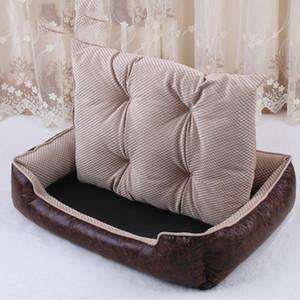 Luxo PU Leather Dog Beds Waterproof Cozy Dog Pet Cat Basket Kennel removível Colchão para Puppy Big Animais Bulldog Teddy