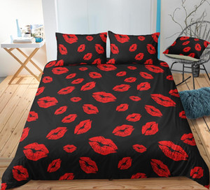BEST.WENSD Sexy Lips bedding set Fashion modern red duvet cover sets pillow bed comforter winter Bedding single Double person