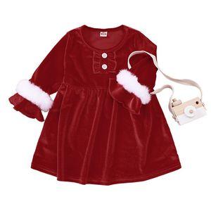 Christmas Baby Fur Red Dresses for Girls 2020 Kids Boutique Clothing Europe America 0-4T Children Girls Long Sleeves Dresses for Christmas