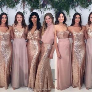Günstige Sexy Sparkly Rose GoldSequined Brautjunfer Dresse Mermaid Backless Strand-Chiffon- Sleeveless Partei-Kleid mit Pailletten Hochzeit Gast Kleid