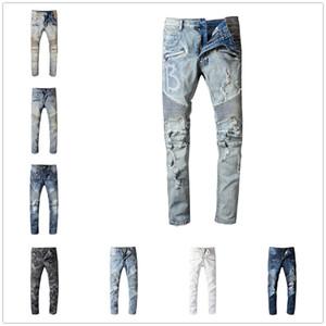 2020 Mens Baimain Designer Jeans Distressed Ripped Biker Slim Fit Motorradfahrer Denim für Männer Mode Mans Schwarze Hosen 20ss hommes gießen