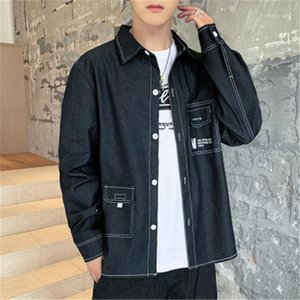 Spring Stand Collar Shirts Designer Male Long Sleeve Casual Single Breasted All-match Shirt Clothes Man Loose Denim Shirt Fashion Trend