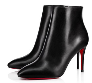 High Quality Black Red Leather Classic Women Brand Red Bottom High Heels Pointy Toe Dress Luxury Ankle Winter Red Sole Wedding Shoes Boots