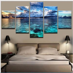 2020 wall art Canvas 5 Pieces Frameless Photo Prints Blue sea Blue Sky Wall Decorations Picture Canvas Wall Paintings