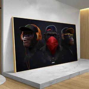 Смешные Wise обезьяны Swag с наушников Современный Прохладный животных Холст Art Poster и печать Wall Picture For Living Room Decoration