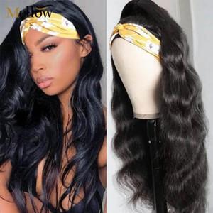 Vücut Dalga İnsan Saç Baş bandı Peruk 180 Yoğunluk Uzun Dalgalı Peruk Brezilyalı Tam Makine Halısı Kafa İçin Siyah Kadınlar