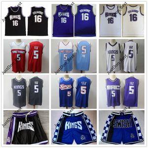 SacramentoreyesCiudad De'Aaron Fox 5 Baloncesto Jersey retro Jason Williams Peja Stojakovic Chirs Webber Mike Bibby