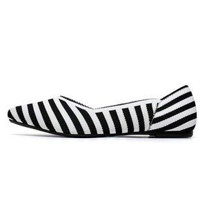 010 occasionnels bas vamp a chaussures plates, pull-ons chaussures Falt ballet Point-pieds, sans soudure conception supérieure tricot 3D, des femmes à la mode