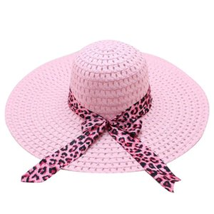 Women Wide Brim Straw Hat Foldable Sunscreen Travel Bowler Outdoor Fashion Cap Seaside Beach Leopard Print Ladies Bowknot Ribbon