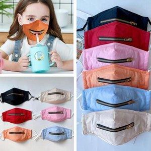 Kids 2 in 1 Zipper Designer Face Mask Adjustable Children Dustproof Mouth Cover Washable Solid Color Cotton Masks DDA334