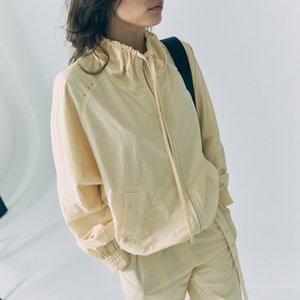 ja2vM coréenne manteau classic2020 été nouveau col court pour les femmes de bas de veste avec cordon de serrage crème manteau court crème solaire crème solaire ourlet élastique