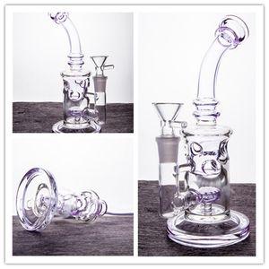 Purple Bong Glass Water Bongs Recycler Dab Rigs Swiss Perc Dab Rig Glass Bong Water Pipe Glass 14mm Bowl