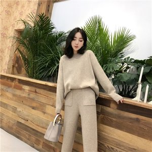 Women's suit Winter Knitted 2 pieces Set Tracksuits Women Thick Warm O-neck Loose Sweater+Ankle-Length Pants Warm Cashmere Suit 200924