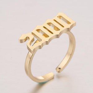 2020 Modedesign Old English Anzahl Ringe für Frauen Hochzeit Schmuck Edelstahl Special Jahr Ring Best Friend Geschenke