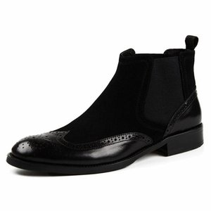 Men winter warm Dress Boots Genuine cow leather boots brogue casual ankle flat shoes Comfortable quality Zipper dress boots 2020
