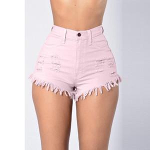 Casual Summer Hxroolrp nuevas mujeres calientes de la moda de talle alto cortos vaqueros rasgados Mini cremallera de los pantalones cortos flaco atractivo de los cortocircuitos C1