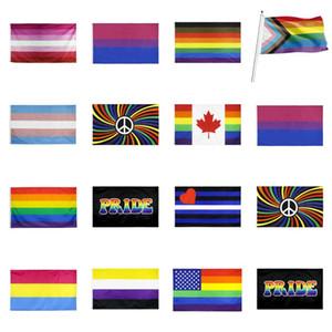Regenbogen-Flagge 90x150cm Amerikanisch Gay Pride Flag Polyester Banner Flaggen Polyester American Banner für Dekoration T2I51373