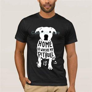 La casa è dove maglietta Uomini cotone manica corta T-shirt di Natale di natale di Natale divertente Mens T Shirt mio Pitbull Is Citazione T superiori