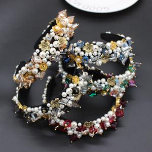 Vintage multicolor headband Baroque exaggerated crystal pearls with headband catwalk dance party luxury multicolor headband 672 T191026