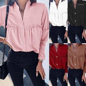 Lace Single Breasted Womens Blouses Fashion Loose Vneck Female Clothing Summer Womens Designer Necking Long Shirts