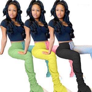 Contrasto di colore Pieghe Split Micro Pantaloni Flare Donne vita alta Pantaloni Due colori Panelled Stacked Sweatpants Moda