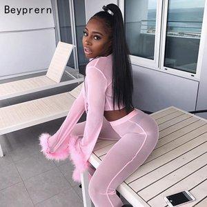 Beyprern Rosa Retroanzug Frauen-nette faxu Pelz-Klagen Zweiteilige Sexy Tie Up Mesh-Crop Top Ausgestelltes Pants Set Festmode T200903