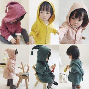 meninos e meninas crianças bebê algodão e linho borlas casaco cardigan com roupas capuz de crianças bebê Kids Clothing