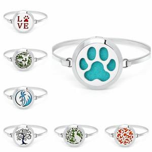 Love dog cat footprint Stainless Steel bangle Aroma Locket essential oil Diffuser locket bangle Perfume Free 10Pads