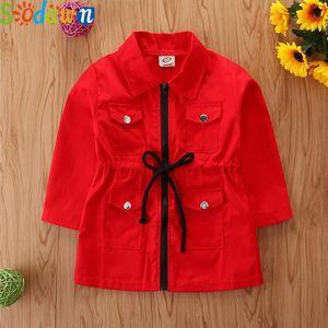 Sodawn Girls Autumn Windbreaker Outerwear Spring Children Clothing Fashion Long Seleeve Mid-Length Zipper Jacket Kids Children