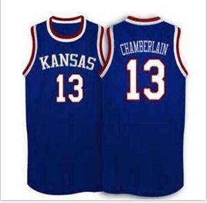 Benutzerdefinierte Männer Jugend Frauen Weinlese # 13 Wilt Chamberlain Kansas Jayhawks KU Basketball-Jersey-Größe S-6XL oder benutzerdefinierten beliebigen Namen oder Nummer Jersey