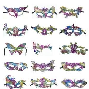 La mitad de la cara del cordón del sello de oro Máscara colorida danza de las mujeres del cordón de la máscara de las máscaras de disfraces colorido del partido del traje de Navidad suministra GWC1098
