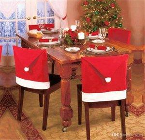 Festliche Removable Santa Red Hat Hussen Weihnachtsdeko Dinner Chair Weihnachten Cap-Sets Folding Hotel-Stuhl Bedecken