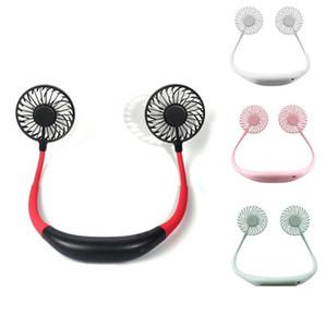 Портативный вентилятор Hand Free Личный мини-вентилятор USB аккумуляторная шеи вентилятора 360 градусов Регулировка Голова висит шеи Вентиляторы для путешествий на открытом воздухе EEA1893