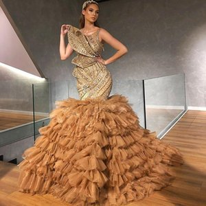 Arabian Gold Beaded Evening Dresses Shiny Crystals Tiered Ruffles Skirt Plus Size Prom Gowns Elegant Red Carpet Celebrity Dress