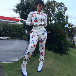 2 duas peças de definição de impressão Borboleta Flor Treino Corredores Runway Jacket calças combinando Suits Mulheres roupa Pista de Inverno Ensemble