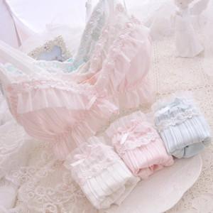 Genç Kızlar Kawaii Sweet Lolita Bow fırfır Intimates Rahat Uyku İç Giyim Seti Japon Sütyen Külot Takımı 6 Renk