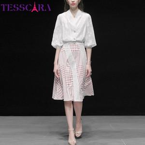 TESSCARA mujeres de primavera y verano elegante traje de vestir Conjunto oficina de alta calidad de partido de coctel de la vendimia Robe Femme diseñador Vestidos