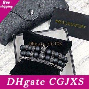 Norooni 2018 2Pcs / Set uxury Moda Crown Charm Bracelet natural para pedra Mulheres e Homens PULSERAS presentes Masculina de presente