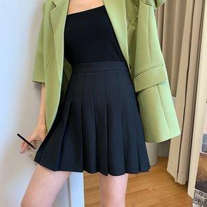aOoh1 Grande perna longa ferramenta afiada cintura alta plissada A- linha de vestido arma afiada arma de verão das mulheres estilo coreano emagrecimento skir anti-exposição
