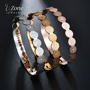 UZone 3 Color Steel Gold Rose Gold Charm Bangle Circle Jesus Cross Stainless Steel Bangle&Bracelet For Women vrouwen armband