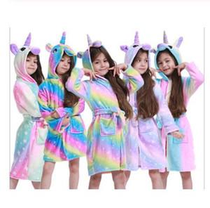 Toddler Kid Boys Girls Flannel Hooded Bathrobes Kids Rainbow Bath Robe Nightgown Pajamas Sleepwear Children Home Clothes