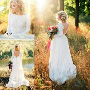 Printemps Pays Dentelle en mousseline de soie robes de mariée dos nu manches longues robe de Noiva Garden Robe de mariée sur mesure