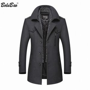 BOLUBAO Homens Winter casaco de lã 2020 dos homens novos Casual marca sólida de lã cor da pelagem misturas de lã de ervilha casaco masculino Sobretudo Trench CX200817