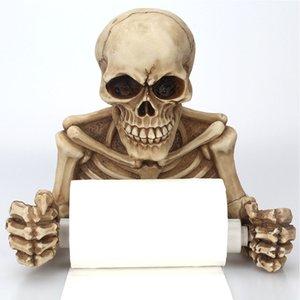 Squelette Crânes Tenture Club Salle de bain Toilette Effrayant Pendentif Porte-papier Roll Party Résine Accueil Décorations Halloween Props