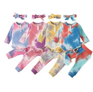 Tie-dye del bebé niños de los mamelucos de una sola pieza suéter manga larga Pantalones Las vendas Botón Body Tres jugadas niños del otoño del mono D82505