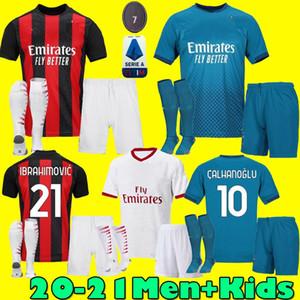 كيت الرجال الاطفال 20 21 IBRAHIMOVIC AC بالقميص لكرة القدم 2020 2021 بياتك الرئيسية لكرة القدم الثالثة قميص باكيتا زي THEO ميلان مايوه دي القدم