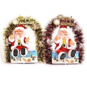 Balançoire Fleur électrique Père Noël Joyeux Noël Bébé cadeau Père Noël LED Lighted Fleur Couronne Balancez Poupée Enfants de Noël DHB1107 Présent